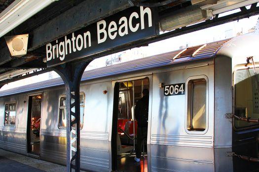New York, NY, USA - October 11, 2012: Brighton Beach Train Station in Brooklyn, NY