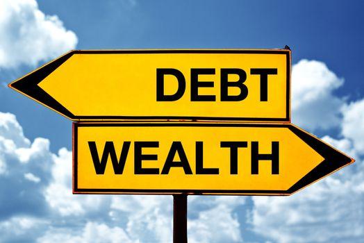Debt or wealth, opposite signs