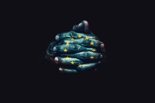 Crossed hands with European Union flag