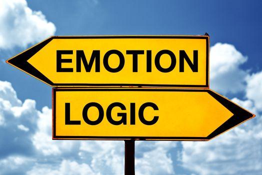 Emotion or logic, opposite signs