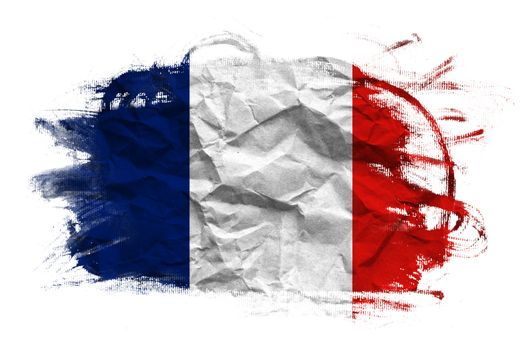 France flag on Crumpled paper texture