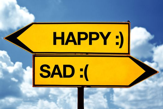 Happy or sad, opposite signs