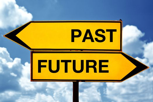 Past or future, opposite signs