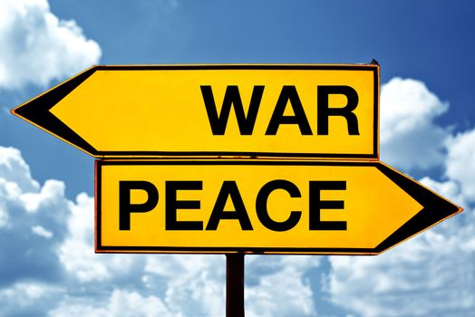 War or peace, opposite signs
