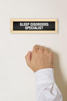 Male patient knocking on Sleep Disorder Specialist door