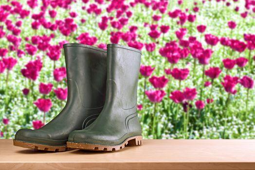 Rubber boots in flower garden