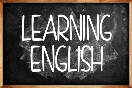 Learning English title on Language School Blackboard