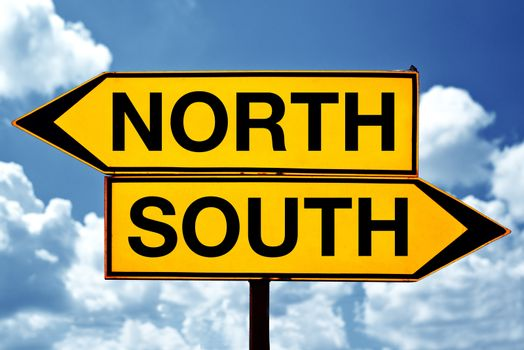 North or south, opposite signs