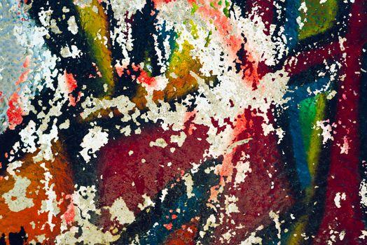Peeling graffiti paint