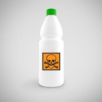 Bottle of chemical liquid with hazard symbol