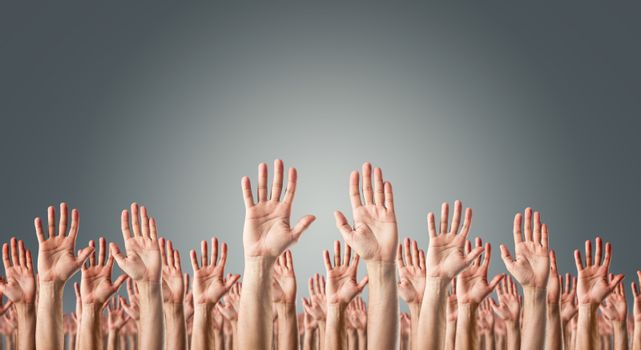 Hands raised in the air