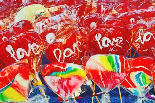 Colorful sweet candies at street market