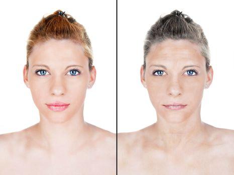 beautiful woman aging process portrait