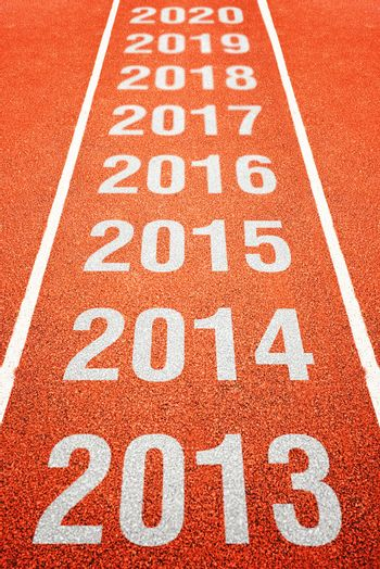 Year numbers on athletics running track