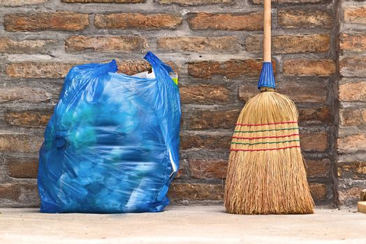 Household Broom For Floor Cleaning and Garbage Bag