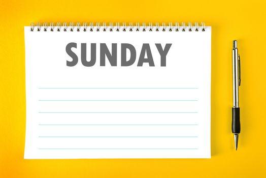 Sunday Calendar Schedule Blank Page