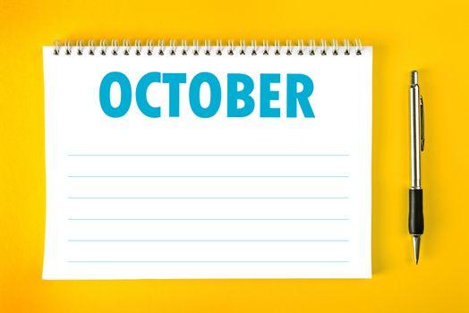 October Calendar Blank Page