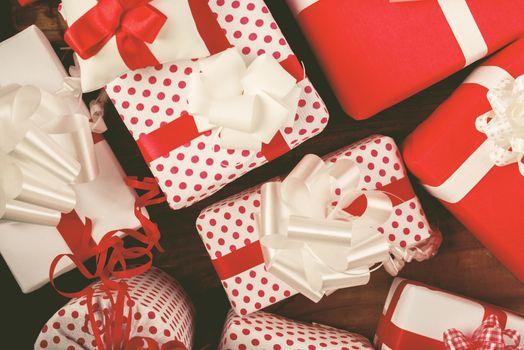 Christmas presents on the table