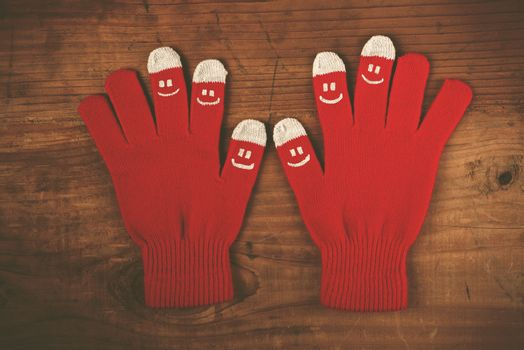 Christmas winter wool gloves with smiley emoticons