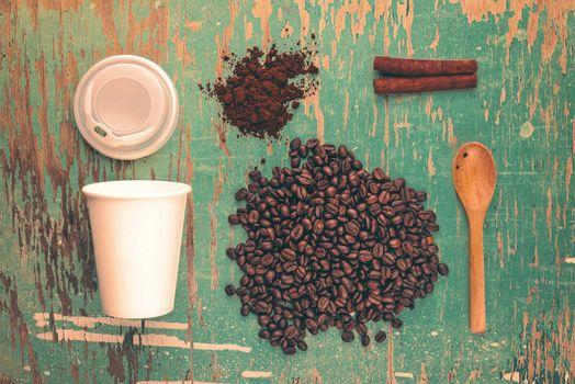 Top View of Coffee Drink Break Concept, Vintage Tone