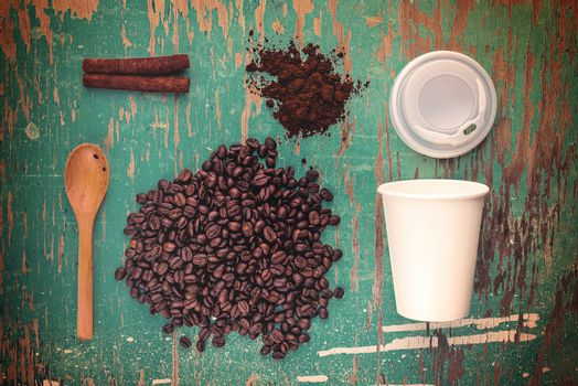 Coffee Break Top View Concept, Vintage Tone