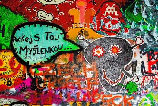 PRAGUE, CZECH REPUBLIC - MAY 21, 2015: Message for Suicidal Person on Famous John Lennon Wall on Kampa Island in Prague filled with Beatles inspired graffiti and lyrics since the 1980s.