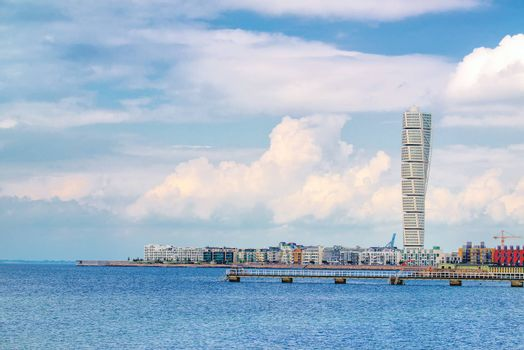 MALMO, SWEDEN - JUNE 29, 2015: Malmo Cityscape with Turning Torso as Distinctive Landmark. Half of the Malmo Population is under the Age of 35 so it is Considered to be very Young Town.