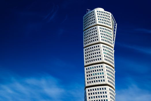MALMO, SWEDEN - JUNE 26, 2015: Beautiful Malmo Turning Torso, Distinctive Swedish City Landmark and Tallest Building in Scandinavia had Construction Costs, by claims, almost Double the Estimate.