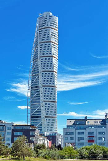 MALMO, SWEDEN - JUNE 26, 2015: Malmo Turning Torso, Tallest Building in Sweden and whole Scandinavia, Reaching a height of 190 metres with 54 stories and 147 apartments.