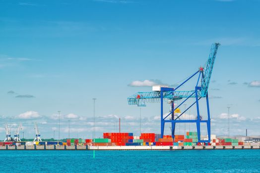 Industrial Sea Port with Crane and Cargo Containers