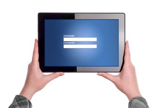Login Page on Digital tablet Computer