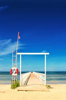Ocean Pier with Lifebuoy