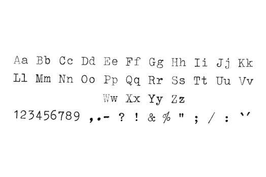 Vintage typewriter typset alphabet