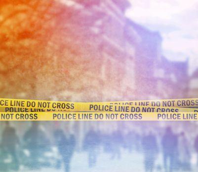Police Line Headband Tape On the Street