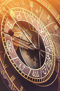 Prague Astronomical Clock with Sunlight Flare