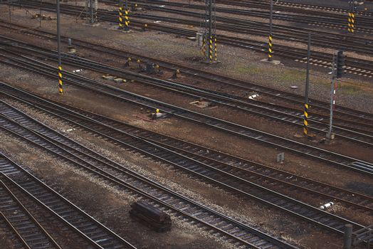 Aerial Top View of Intersecting Rails