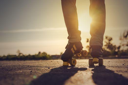 Woman Riding Roller Skates in Urban Environment