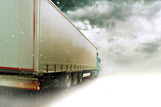 Speeding truck on Snowy road