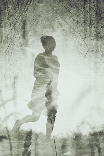 Woman Running to Freedom Through Countryside Field, Ghost like Silhouette of Female Person, Double Exposure, Vintage Retro Tone Effect.
