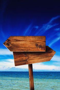 Direction Signpost on Seaside Beach