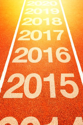 2016, Happy New Year, Continuous Year Numbers Count on Athletics Running Track. Happy new year