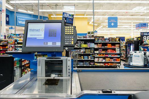Till at a Walmart supermarket