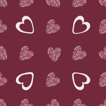 Red heart abstract background vintage seamless pattern vector background