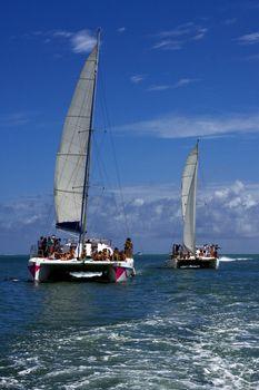catamaran and coastline in mauritius