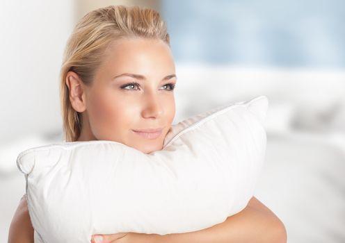Girl enjoying soft pillow