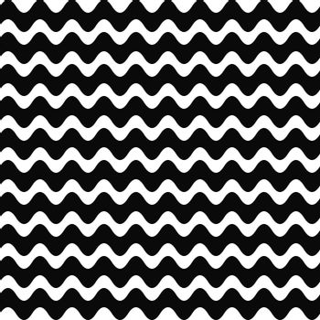 Repeating black and white wave stripe pattern