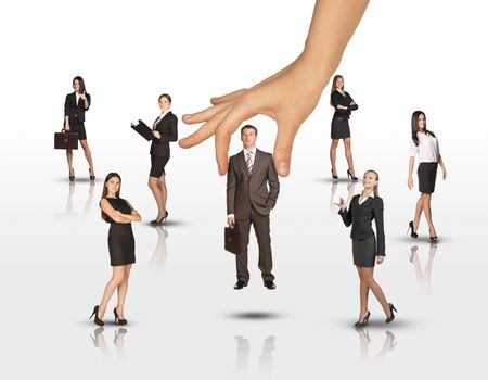 Set of business people with huge hand on isolated white background