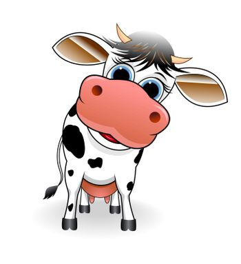 Cartoon spotty cow on a white background.