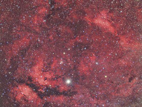 Sadr and Nebula in constellation Cygnus