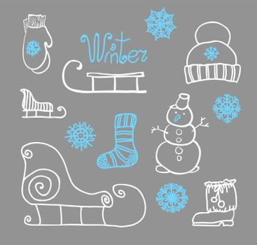 Freehand drawing Winter holiday. Vector illustration. Set